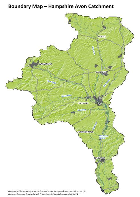 Hampshire Avon catchment partnership map